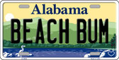 Beach Bum Alabama Background Novelty Metal License Plate