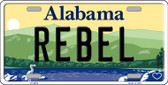 Rebel Alabama Background Novelty Metal License Plate