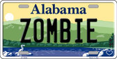 Zombie Alabama Background Novelty Metal License Plate