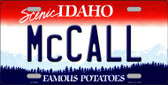 McCall Idaho Background Novelty Metal License Plate