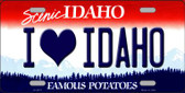 Love Idaho Background Novelty Metal License Plate