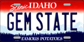 Gem State Idaho Background Novelty Metal License Plate