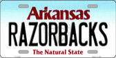 Razorbacks Arkansas Background Novelty Metal License Plate