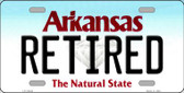 Retired Arkansas Background Novelty Metal License Plate