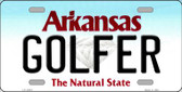 Golfer Arkansas Background Novelty Metal License Plate