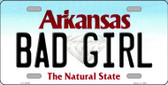 Bad Girl Arkansas Background Novelty Metal License Plate