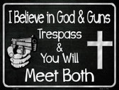 God And Guns Metal Novelty Parking Sign