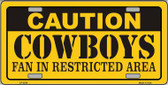 Caution Cowboys Metal Novelty License Plate