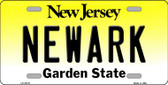Newark New Jersey Background Novelty Metal License Plate