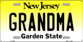 Grandma New Jersey Background Novelty Metal License Plate