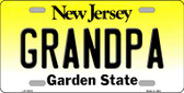Grandpa New Jersey Background Novelty Metal License Plate