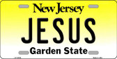 Jesus New Jersey Background Novelty Metal License Plate