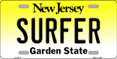 Surfer New Jersey Background Novelty Metal License Plate