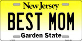 Best Mom New Jersey Background Novelty Metal License Plate