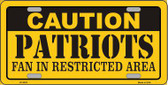Caution Patriots Metal Novelty License Plate