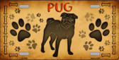 Pug Novelty Metal License Plate