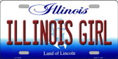 Illinois Girl Illinois Background Metal Novelty License Plate