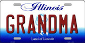 Grandma Illinois Background Metal Novelty License Plate
