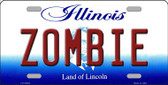 Zombie Illinois Background Metal Novelty License Plate
