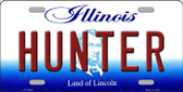 Hunter Illinois Background Metal Novelty License Plate