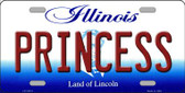 Princess Illinois Background Metal Novelty License Plate