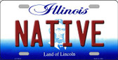 Native Illinois Background Metal Novelty License Plate