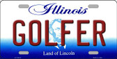 Golfer Illinois Background Metal Novelty License Plate