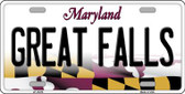 Great Falls Maryland Background Metal Novelty License Plate
