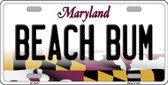 Beach Bum Maryland Background Metal Novelty License Plate