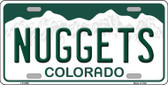 Nuggets Colorado Novelty State Background Metal License Plate