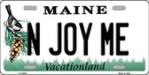 N Joy ME Maine Background Metal Novelty License Plate