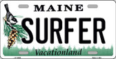 Surfer Maine Background Metal Novelty License Plate