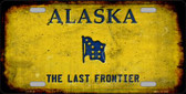 Alaska Rusty Background Metal Novelty License Plate