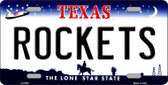 Rockets Texas Novelty State Background Metal License Plate LP-2572