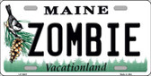 Zombie Maine Background Metal Novelty License Plate