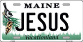 Jesus Maine Background Metal Novelty License Plate