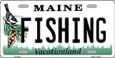 Fishing Maine Background Metal Novelty License Plate