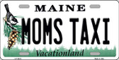 Moms Taxi Maine Background Metal Novelty License Plate
