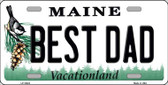 Best Dad Maine Background Metal Novelty License Plate