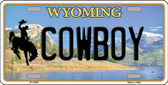 Cowboy Wyoming Background Metal Novelty License Plate