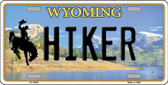 Hiker Wyoming Background Metal Novelty License Plate