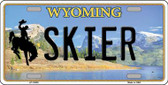 Skier Wyoming Background Metal Novelty License Plate