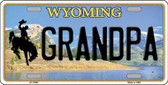 Grandpa Wyoming Background Metal Novelty License Plate