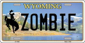 Zombie Wyoming Background Metal Novelty License Plate