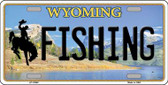 Fishing Wyoming Background Metal Novelty License Plate