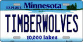Timberwolves Minnesota Novelty State Background Metal License Plate