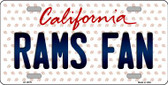 Rams Fan California Background Novelty Metal License Plate