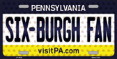 Six Burgh Fan Pennsylvania Background Novelty Metal License Plate