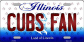 Cubs Fan Illinois Background Novelty Metal License Plate
