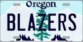 Blazers Oregon Novelty State Background Metal License Plate LP-2587